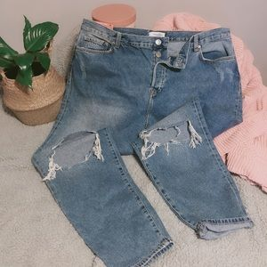 Forever 21 + Distressed High Rise Mom Jeans